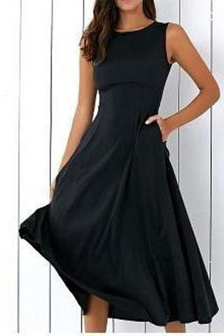 Women's Slim Fit Large Pendulum Sleeveless Skater Dress