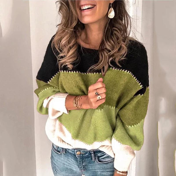 Casual Long Sleeve Striped Colorblock Knit Sweater