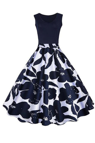 Women's Summer Vintage Boat Neck Floral Printed Sleeveless Skater Dress