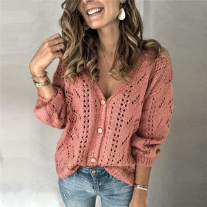 Women's V-neck solid color single-breasted sweater