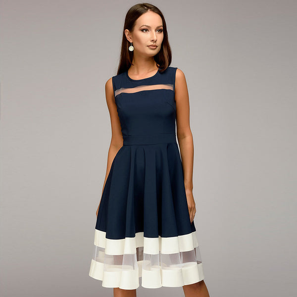 Kanaladystar Round Neck Patchwork Color Block Sleeveless Skater Dress