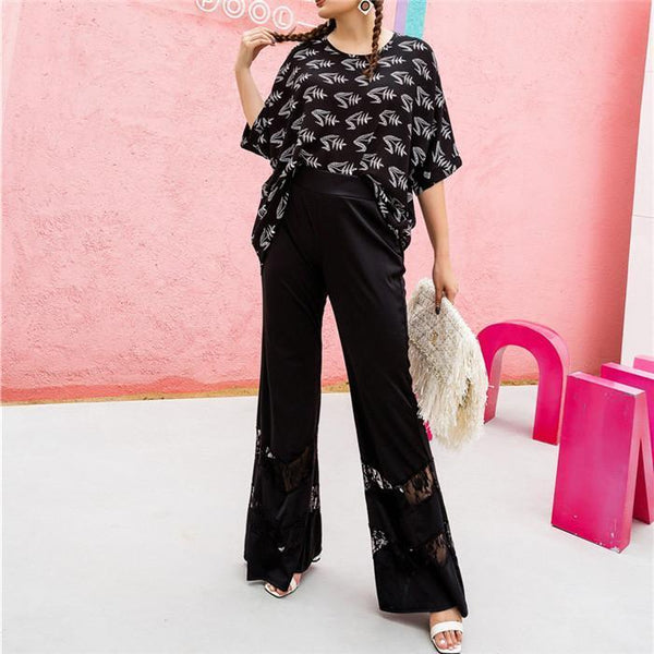 Plus-Size Loose Solid Color Hollow Out Casual Pant