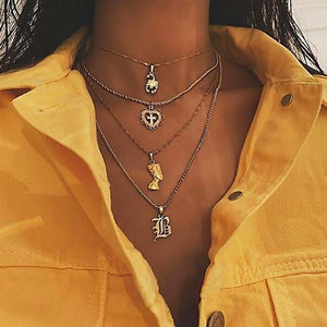 European and American Bohemian Cross Love Letter 5-layer necklace