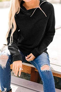 High Neck  Zipper  Plain Sweatshirt