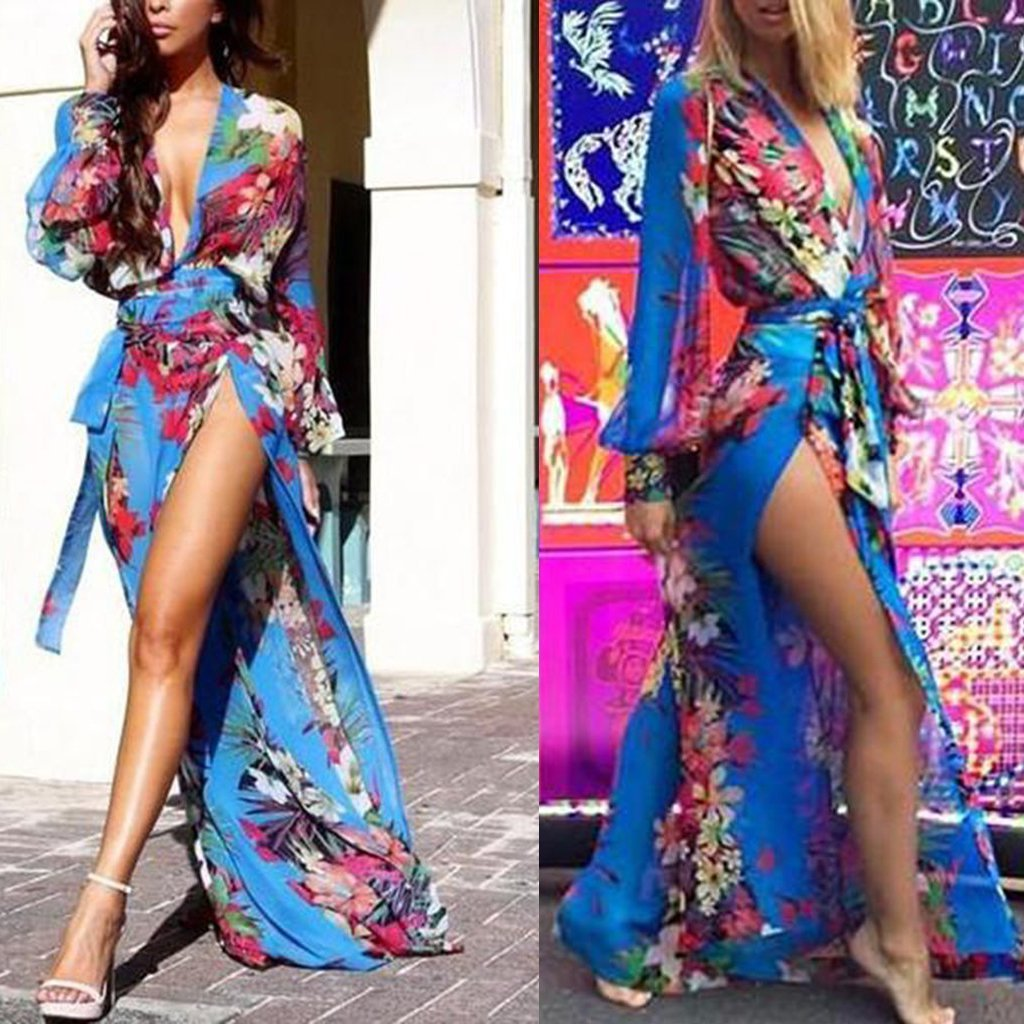 Deep V Neck  Asymmetric Hem Loose Printed Maxi Dresses