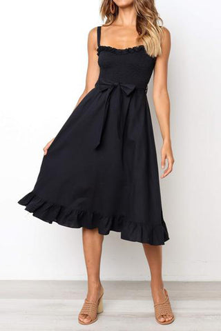 Women's Wrapped Chest Strap Waist Bow Dress