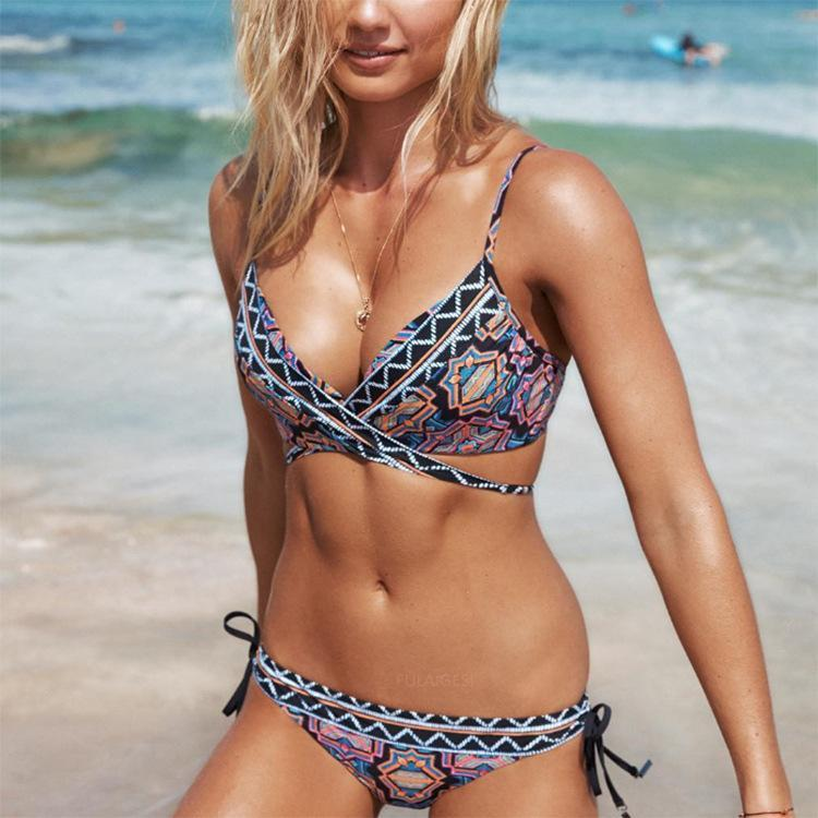 Sexy Digital Prints Gather Bikini