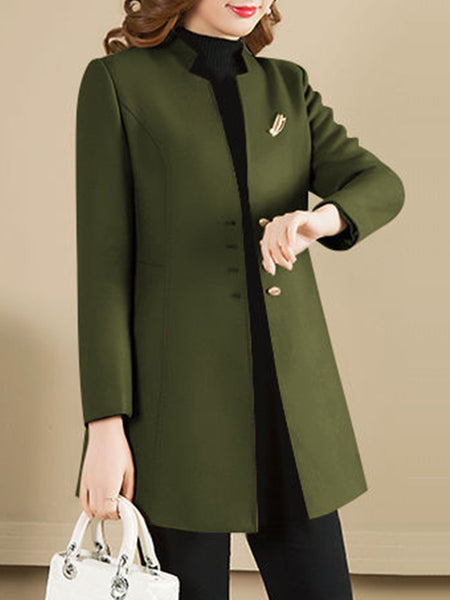 Collarless Plain Coat