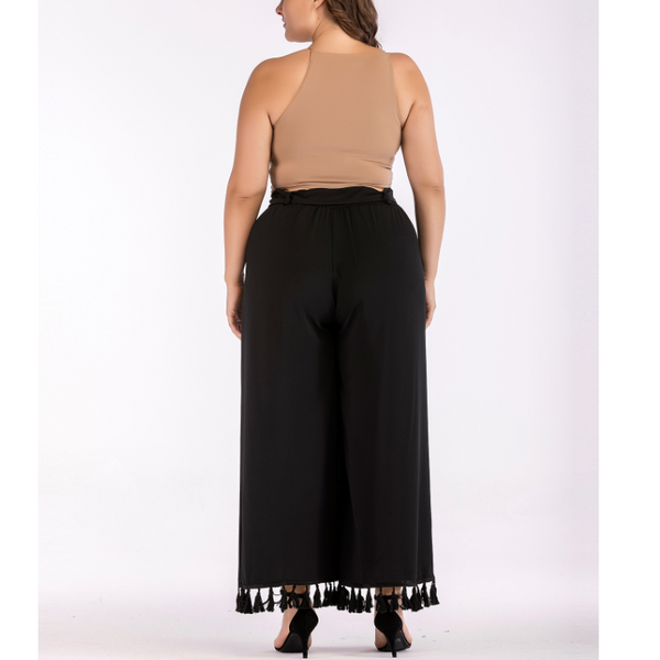 Plus-Size Pure Color Loose Casual Tassels Pant