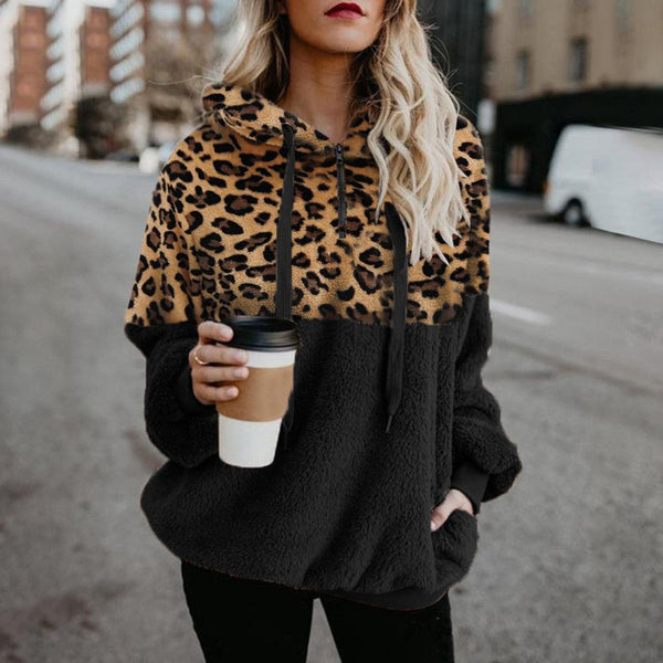 Fashion Leopard Print Women Hoodies Casual Zip Pocket Plush Hoodies