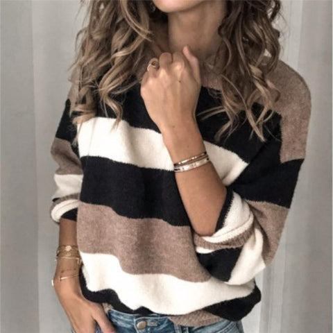 Women's Striped Colorblock Knit Top
