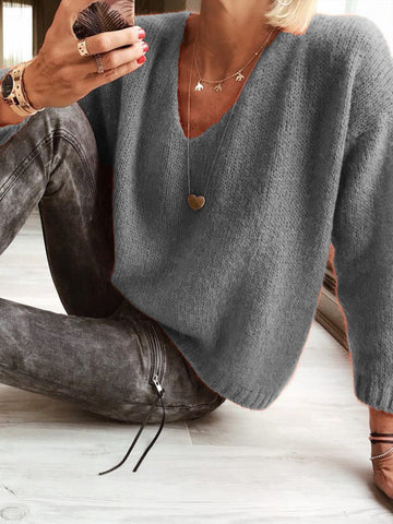 Casual V Neck Plain Sweater