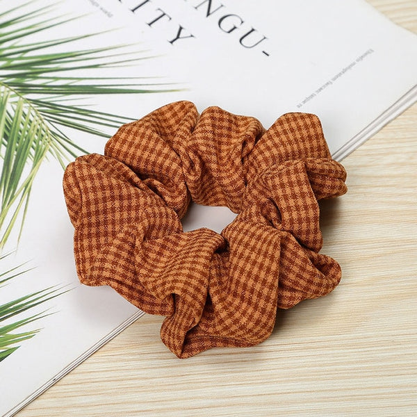 Printed Plaid Scrunchies