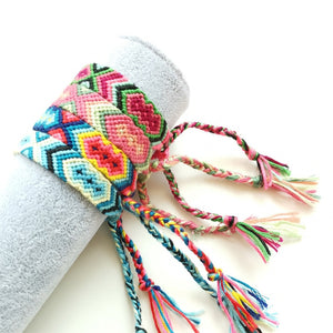 Bohemian Retro Handmade Multicolor String Cord Woven Braided Hippie Friendship Bracelets