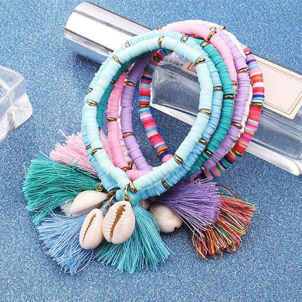 Multicolor Bohemian Shell Tassel Bracelet Cotton Rope Chain Woven Bracelet