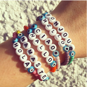 Hello Letter Colorful Beading Handmade Strand Acrylic Fashion Women Bracelets