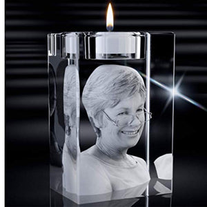3D Laser Engraved Photo Crystal Candle, Personalized Holographic Memorial Candle from Your Photo