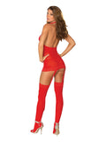 SHEER GARTER DRESS RED O/S -DG0035RD
