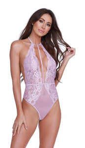 LACE & PATTERNED MESH COLLARED TEDDY LILAC O/S -DG11607LIL