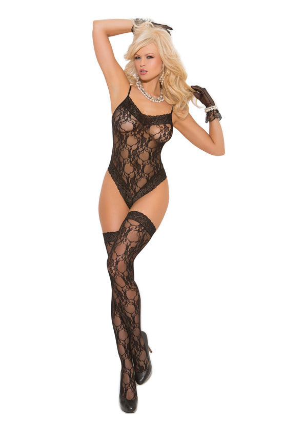 LACE TEDDY & STOCKINGS QUEEN SIZE -ELM1541Q