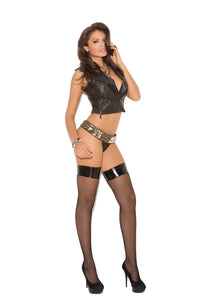 FISHNET W/THIGH HI VINYL TOP BLACK O/S -ELM1769B