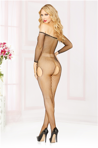 OFF THE SHOULDER BODY STOCKING O/S BLACK -STM20464PBK