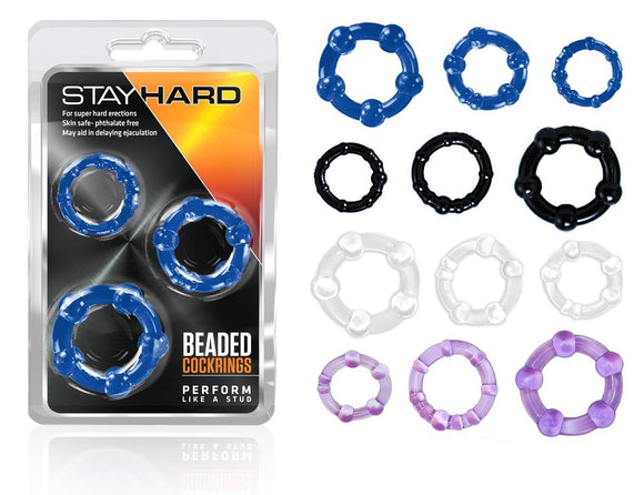 Stay Hard - Beaded Cock Rings - BL-00012