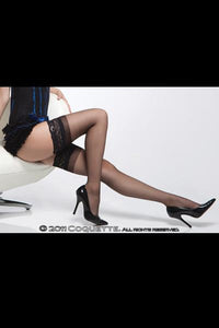 SHEER THIGH HIGH W / SILICONE GRIP LACE TOP BLK OS -CQ1750BLK
