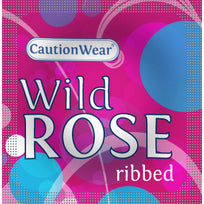 WILD ROSE RIBBED LUBRICATED CONDOMS 3PK -RCW03WR
