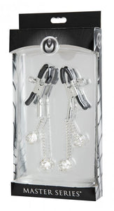 MASTER SERIES RHINESTONE NIPPLE CLAMPS SQUARE CLEAR -XRAE614