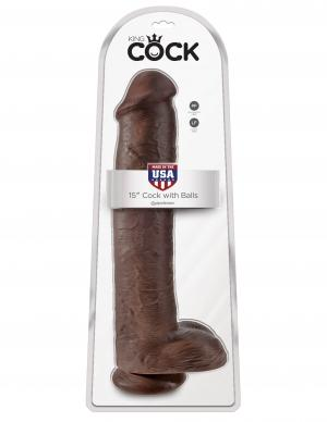 KING COCK 15 COCK W/BALLS BROWN