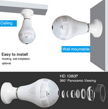 Load image into Gallery viewer, Kruiqi Wifi Ip Camera 1080p Bulb Light 360 Degree Wi-Fi Fish-Eye Cctv Camera 2.0mp Home Security Wifi Camera Panoramic Camera