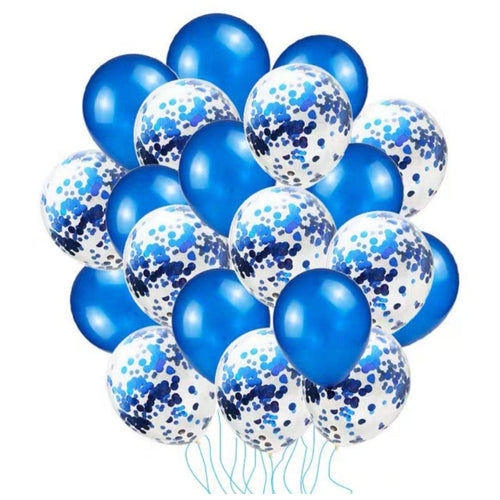 20pc Sapphire Blue/ Rose Gold Confetti Balloon Set - LYB Concepts