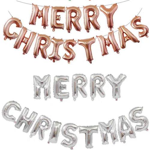 Merry Christmas Balloon Bunting in Rose Gold/Silver - LYB Concepts