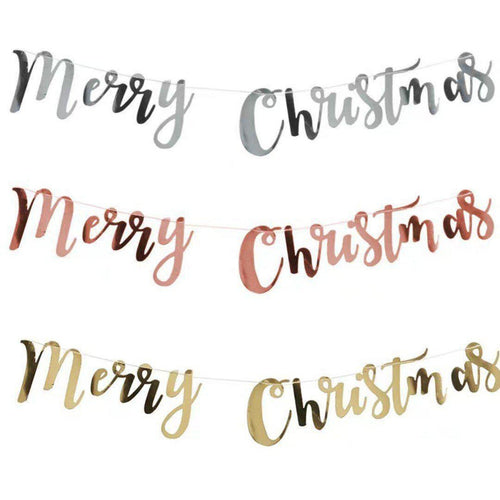 Merry Christmas Cursive Bunting in Gold/Silver/Rose Gold - LYB Concepts