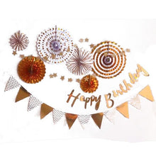 Load image into Gallery viewer, Metallics Birthday Cursive Wall Decor Set (Gold/Silver/Rose Gold) - LYB Concepts