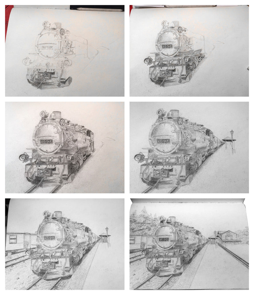 Skizzen Schrittesketch step by step