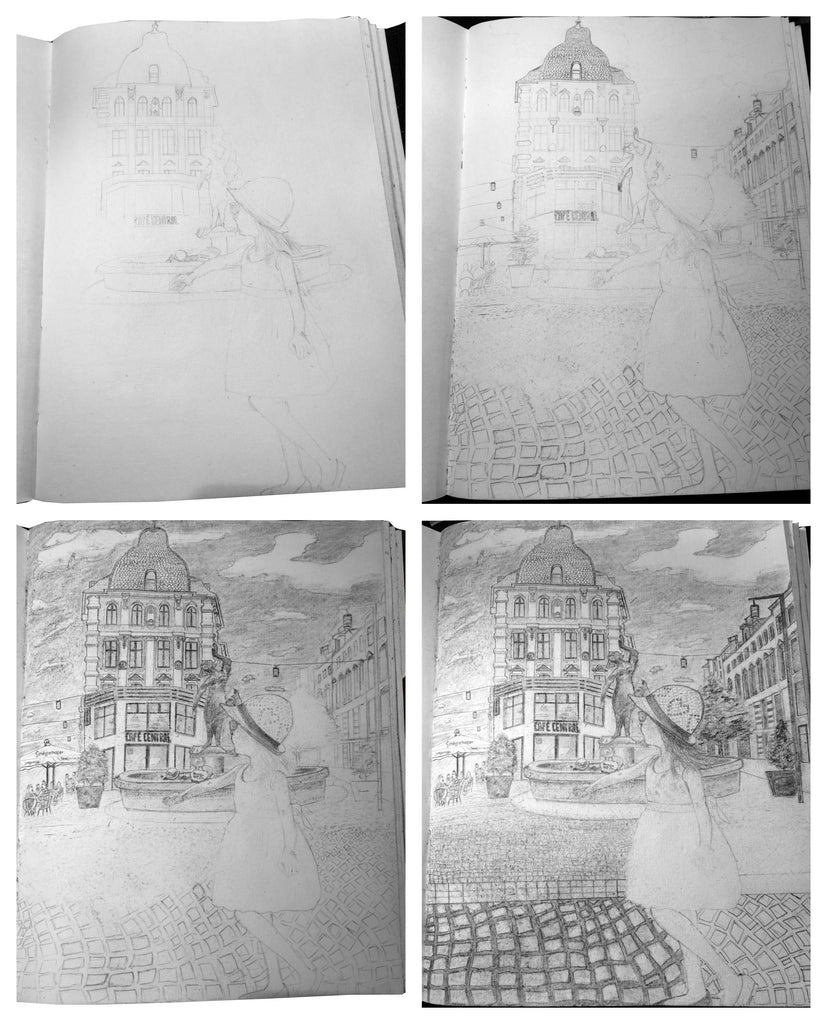 step by step sketch on cotton paper