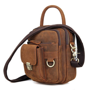 ROOGU Fanny Shoulder Waistbag Pack Vintage Handmade Leather Crazy Horse Multifunctional