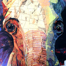 Laden Sie das Bild in den Galerie-Viewer, Handarbeit Elefant 3D Collage Kunst Pop Frame Afrika Wand Bild Deko Lein
