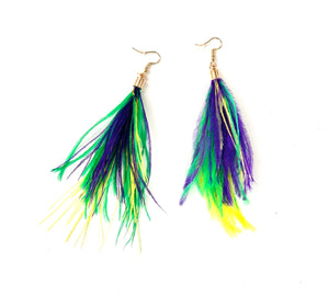 Mardi Gras Feather Earrings