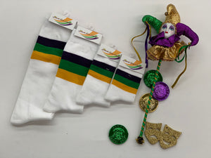 White Mardi Gras Socks