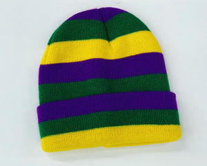 Purple Green & Yellow Mardi Gras Beanie