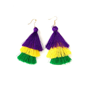 Mardi Gras Fringe Earrings