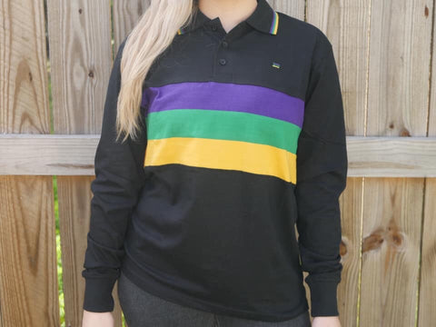 Adult Mardi Gras Black Long Sleeve Shirt