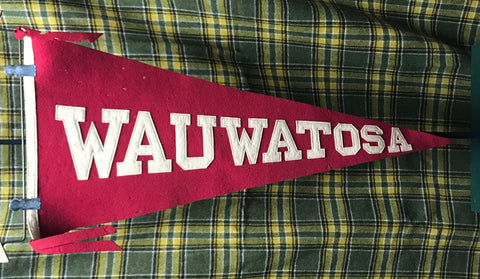 "Pennant: Wauwatosa, Wisconsin Sewn Letter Wool 30"" Pennant 1910-50s"
