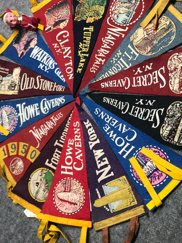 "Pennants: Historic Attractions 24-26"" Wool Pre1930-1950s"