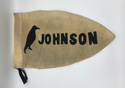 "Pennant: Johnson Crow 2 Sided Sewn Letters 20"" pre1930-50"