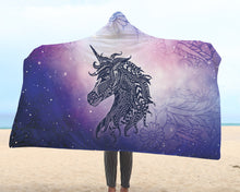 Load image into Gallery viewer, Unicorn Mandala Hooded Blanket