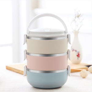 Multi-Layer Vacuum Insulated Stainless Steel Bento-Style Lunch Box
